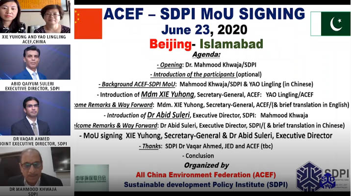 All-China Environment Federation (ACEF) and Sustainable development Policy Institute (SDPI) MOU.